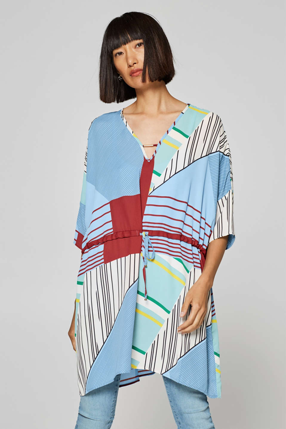 Esprit - Kaftan blouse with modern stripe mix