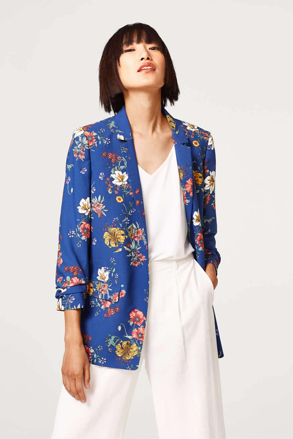 Esprit - Printed blazer with gathered sleeves