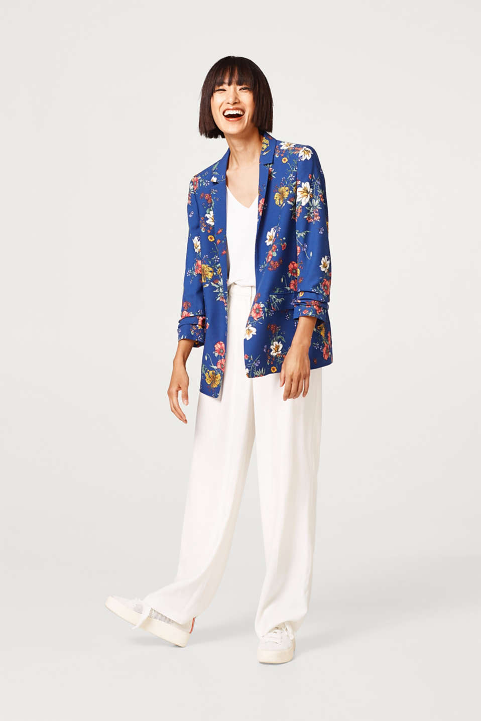 Printed blazer with gathered sleeves
