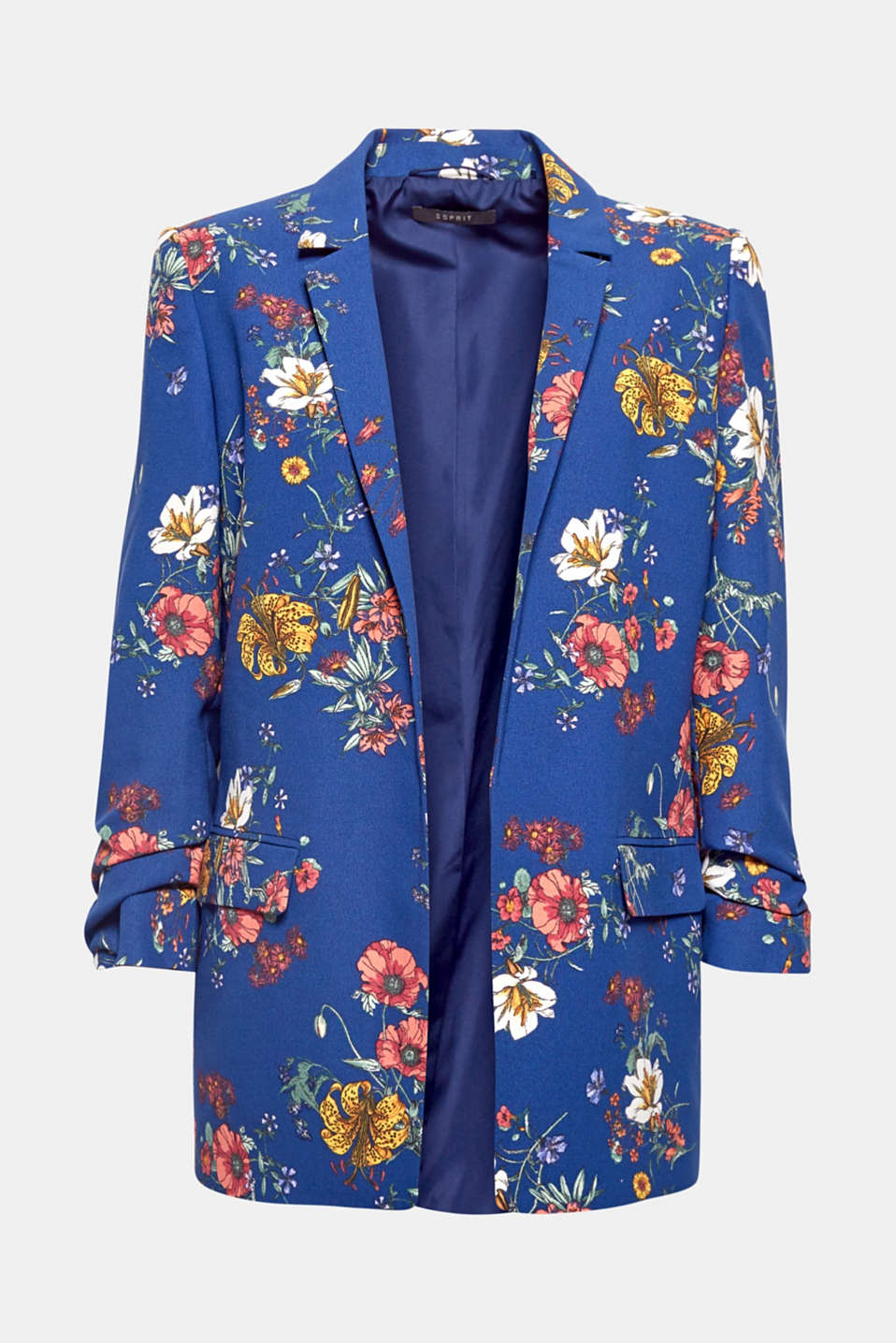 The colourful floral print, gathered sleeves and loose cut make this blazer genuine breaking news - with all the trappings of a firm fave!