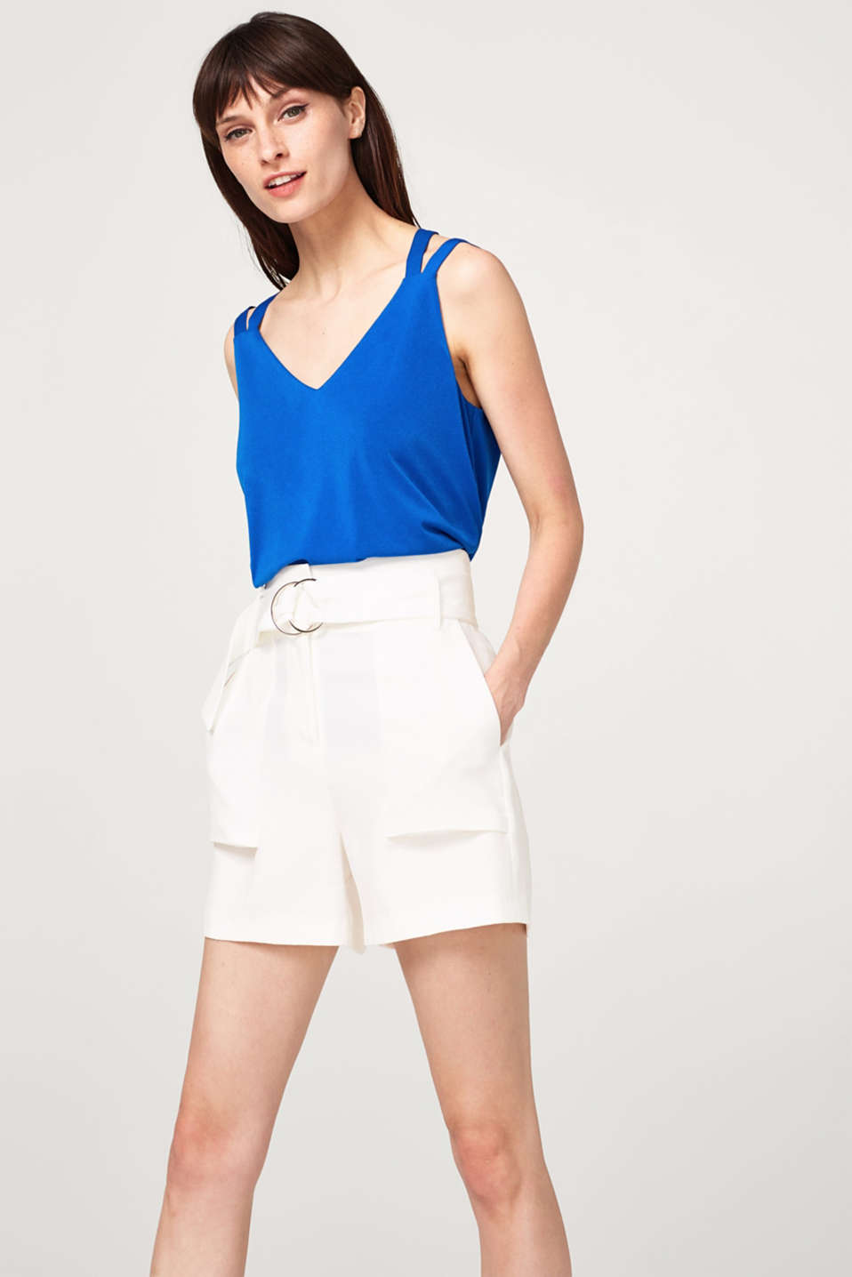 Esprit - Stretch jersey top with crossed-over, double-layer straps