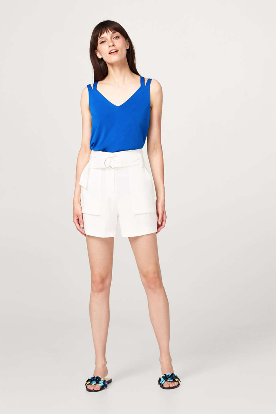 Stretch jersey top with crossed-over, double-layer straps