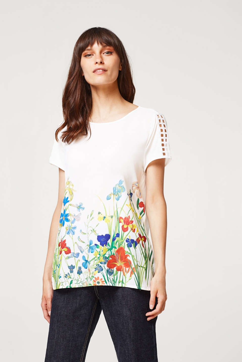 Esprit - Top made of soft blended fabric with a floral print