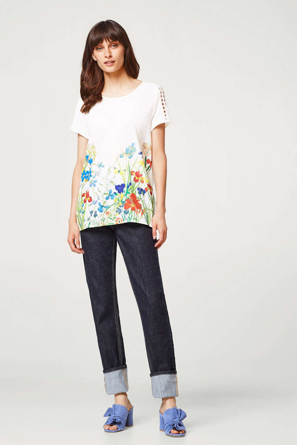 Top made of soft blended fabric with a floral print