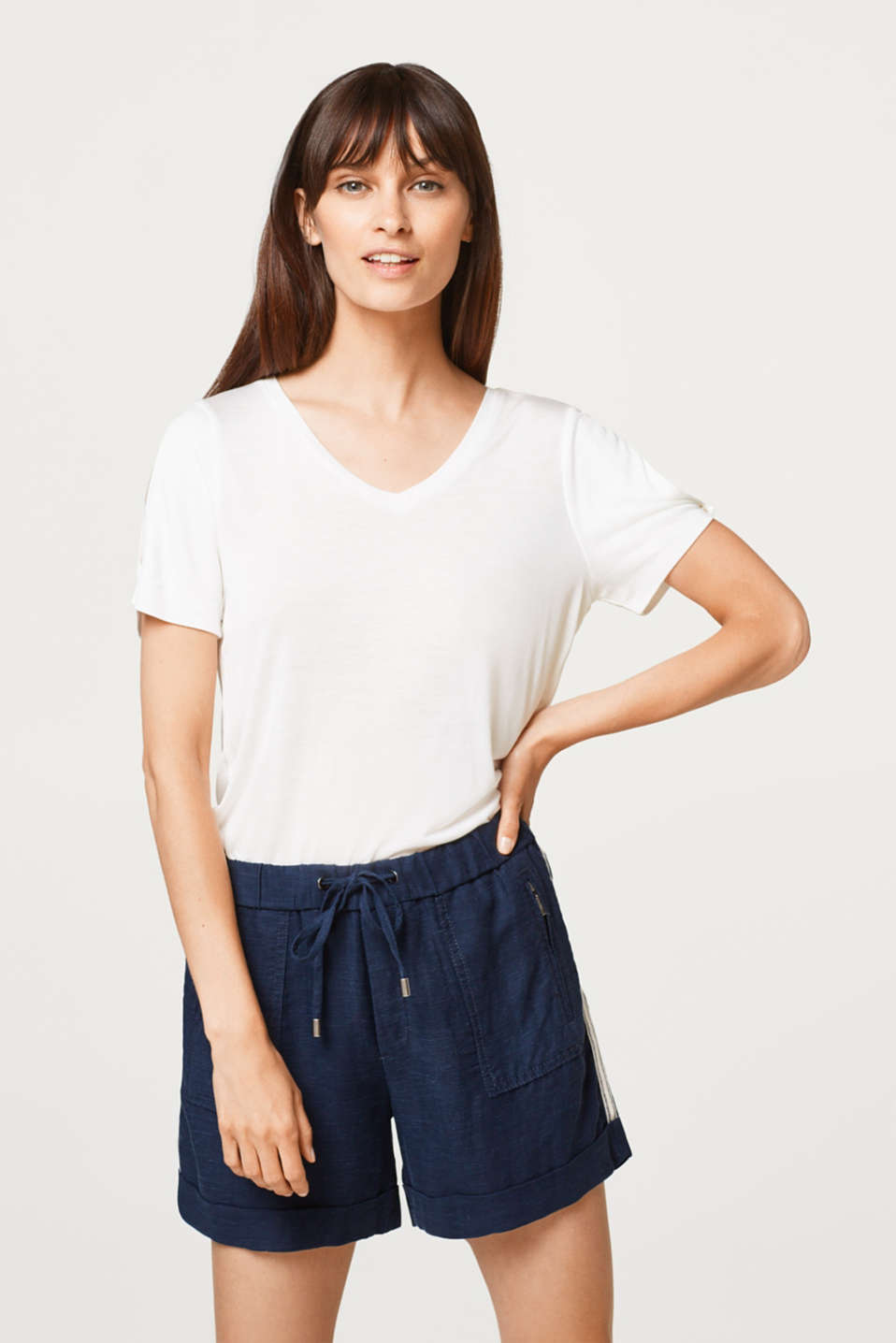 Esprit - V-neck T-shirt with slit sleeves
