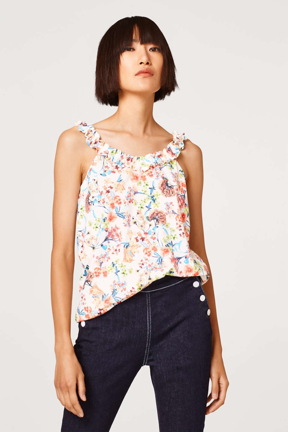 Esprit - Blouse top with a print and stretchy frilled straps