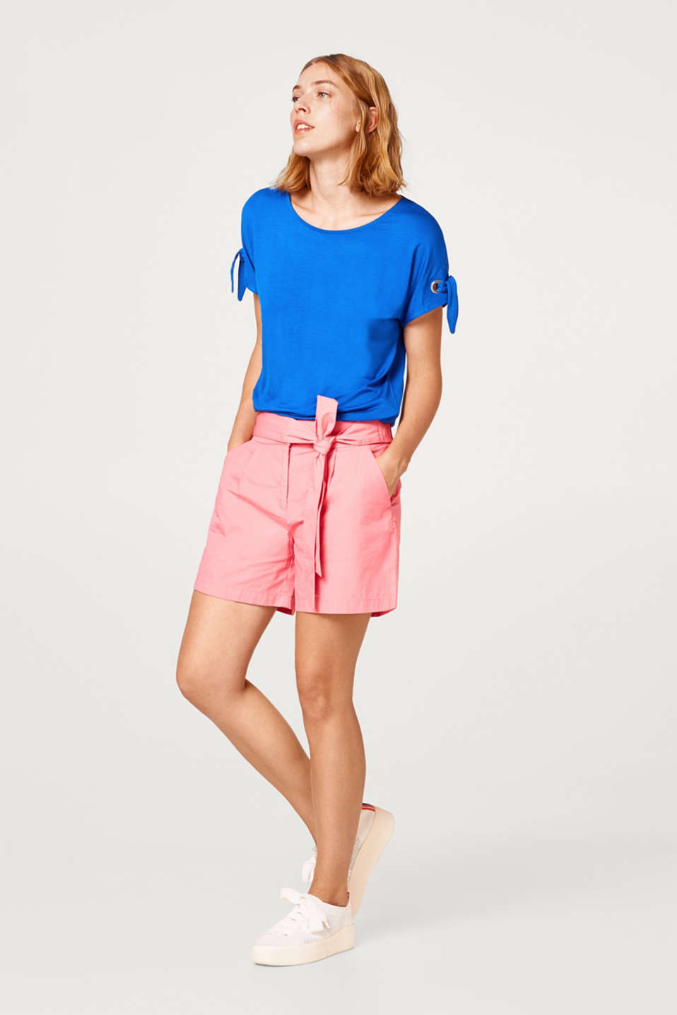 Stretch T-shirt with bows at the sleeves