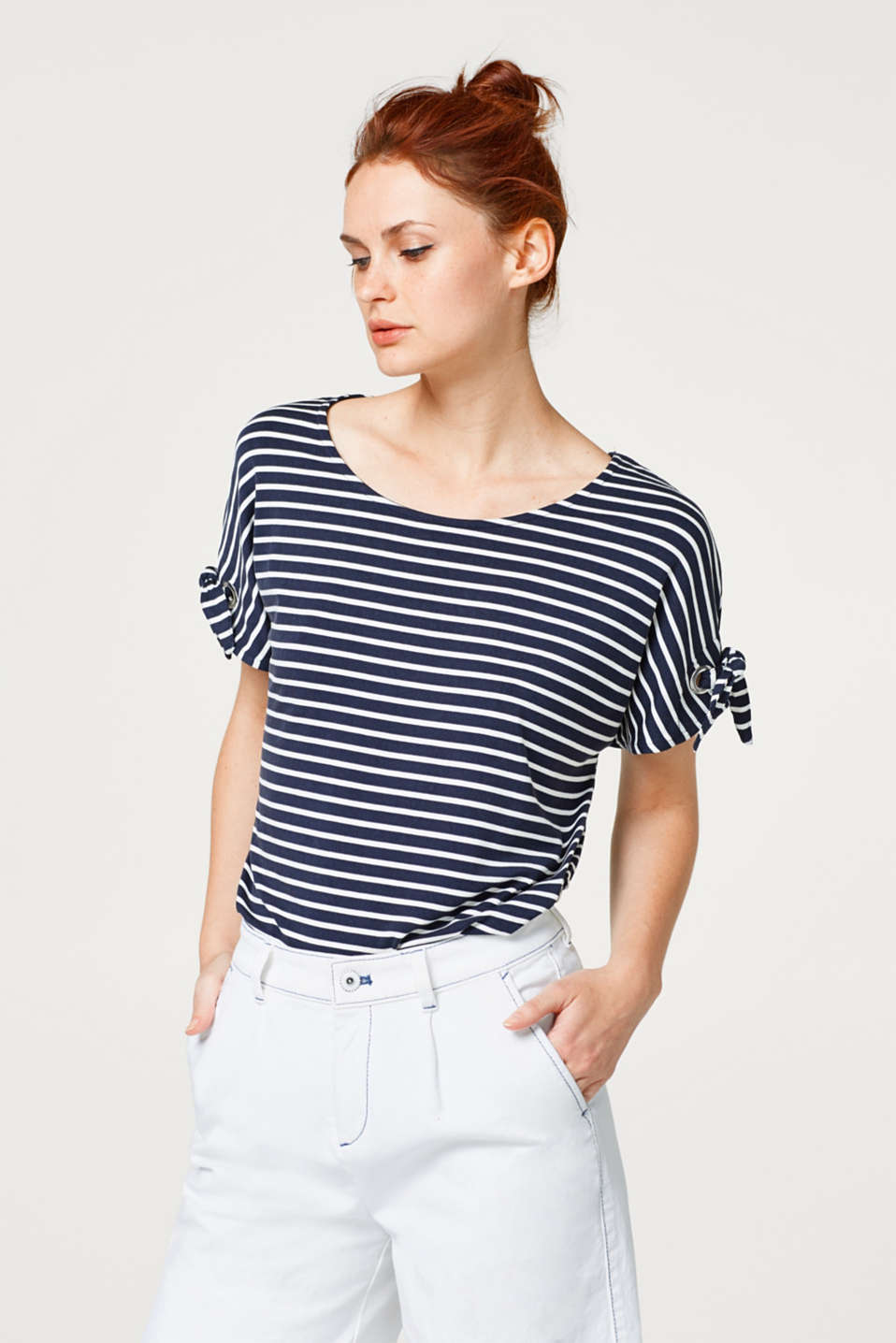 Esprit - Striped top with sleeve ties