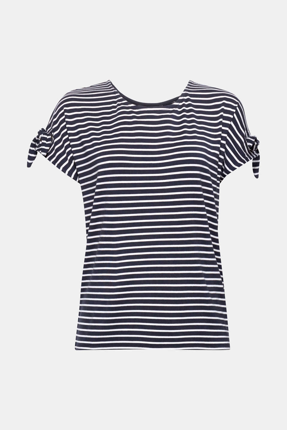 Fashionable stripes and decorative bows on the sleeves give this soft, versatile stretch top its pretty, sporty look!