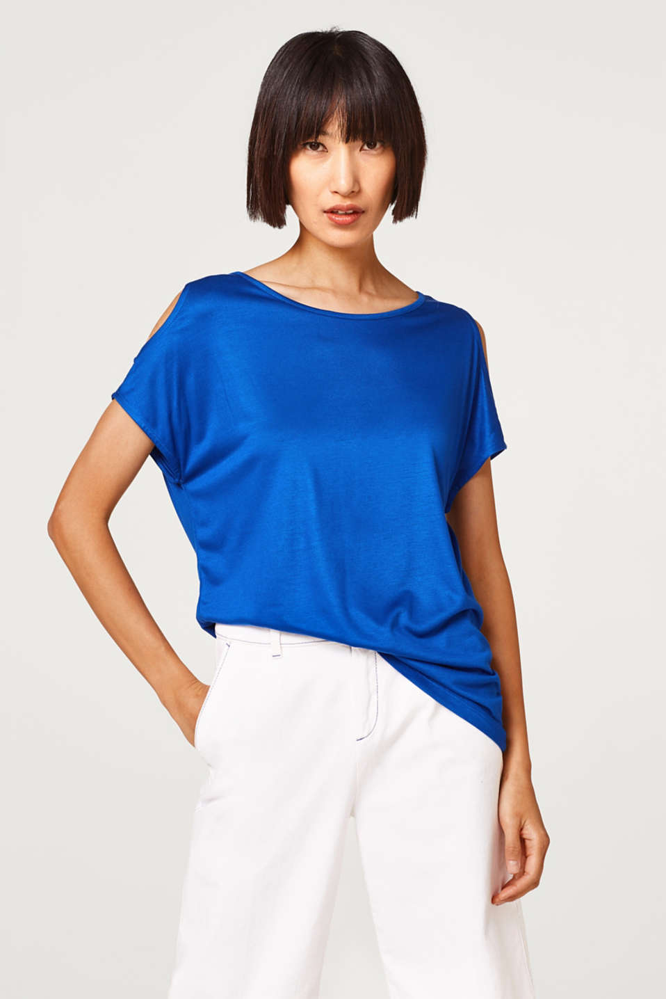 Esprit - Fließendes Shirt im Cold-Shoulder-Look