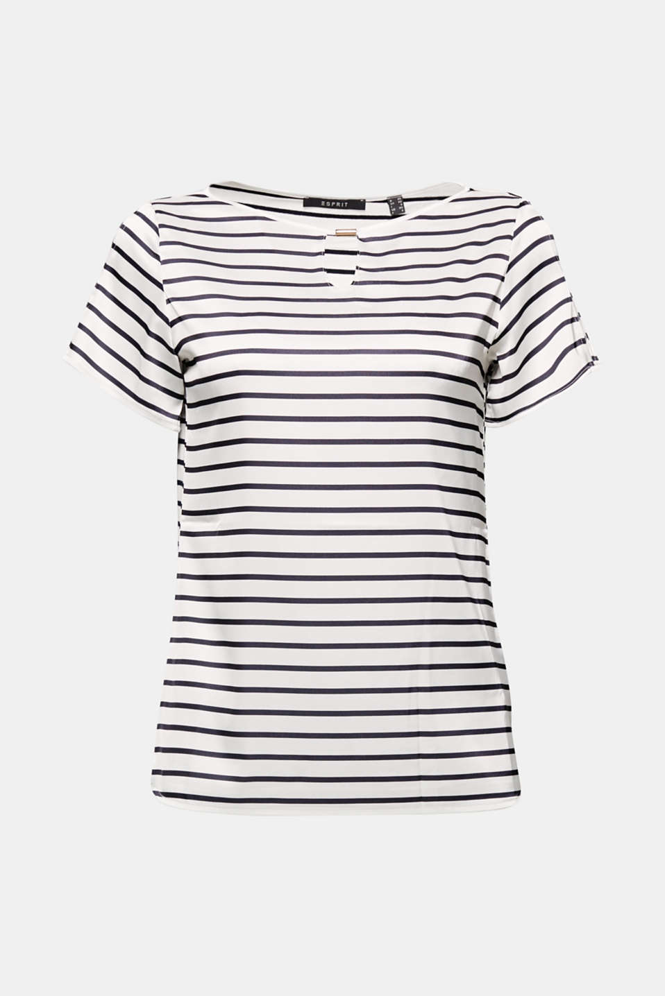 Lots of small eye-catching details give this striped T-shirt made of fashionable blended fabric new nautical charm!