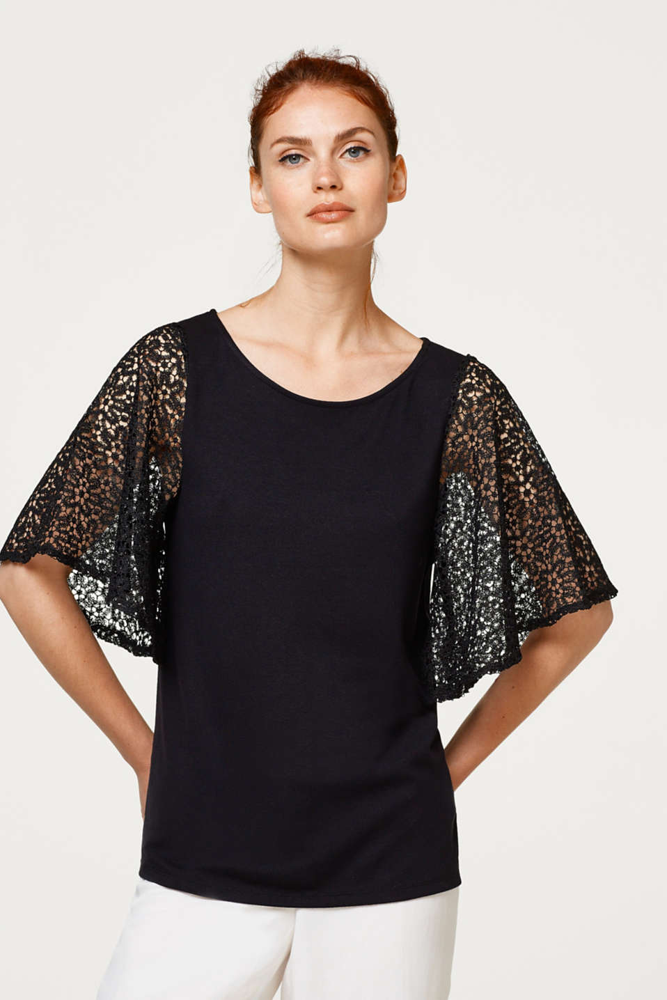 Esprit - Stretch top with wide lace sleeves