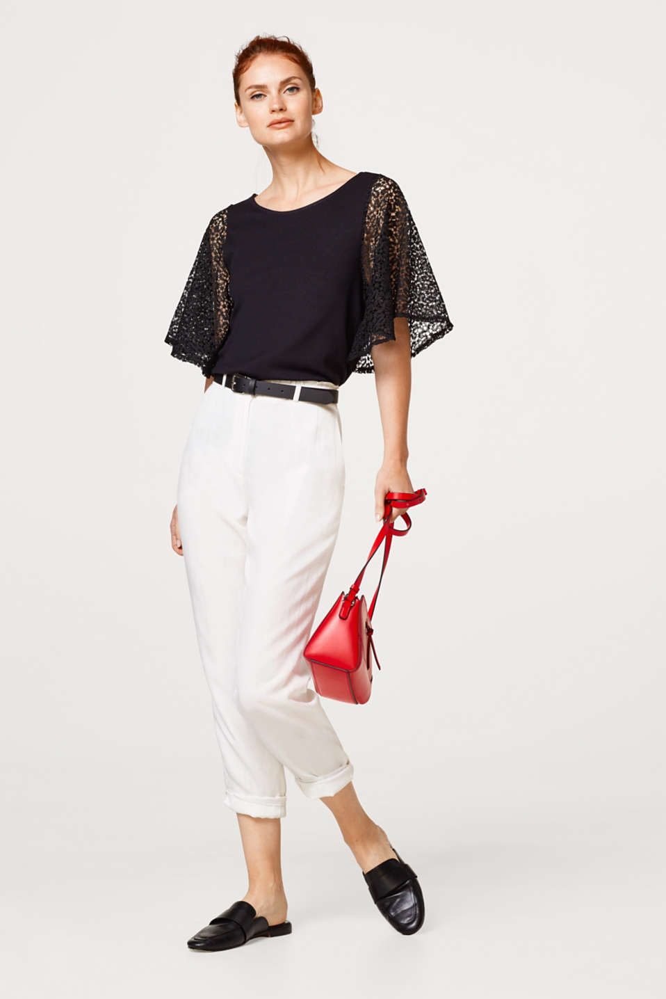 Stretch top with wide lace sleeves