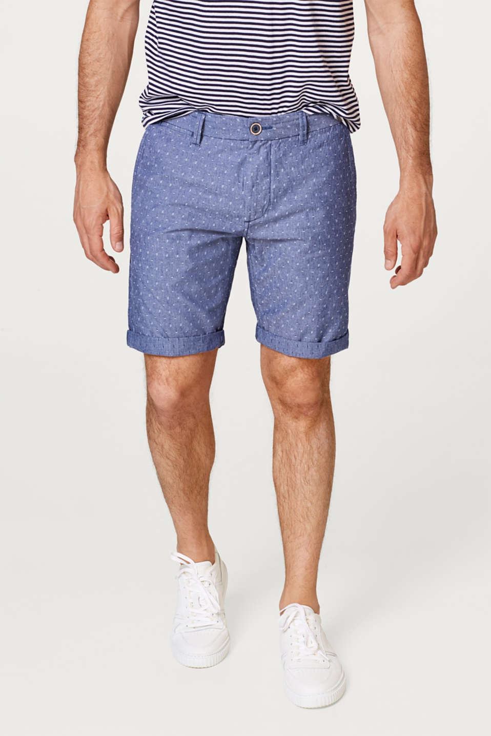 Esprit - Chambray shorts with a textured pattern, made of cotton