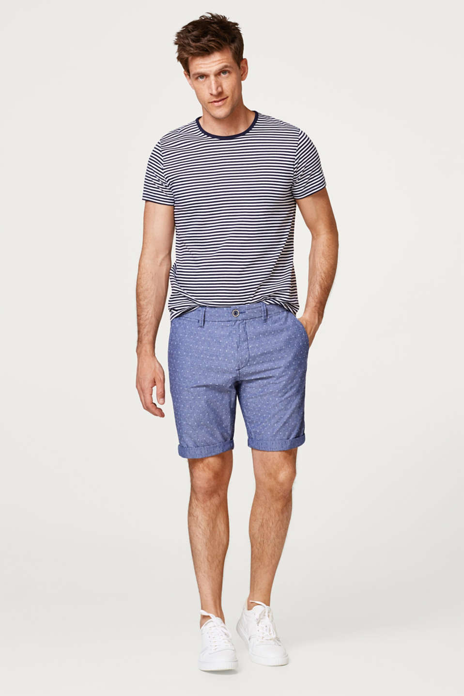 Chambray shorts with a textured pattern, made of cotton