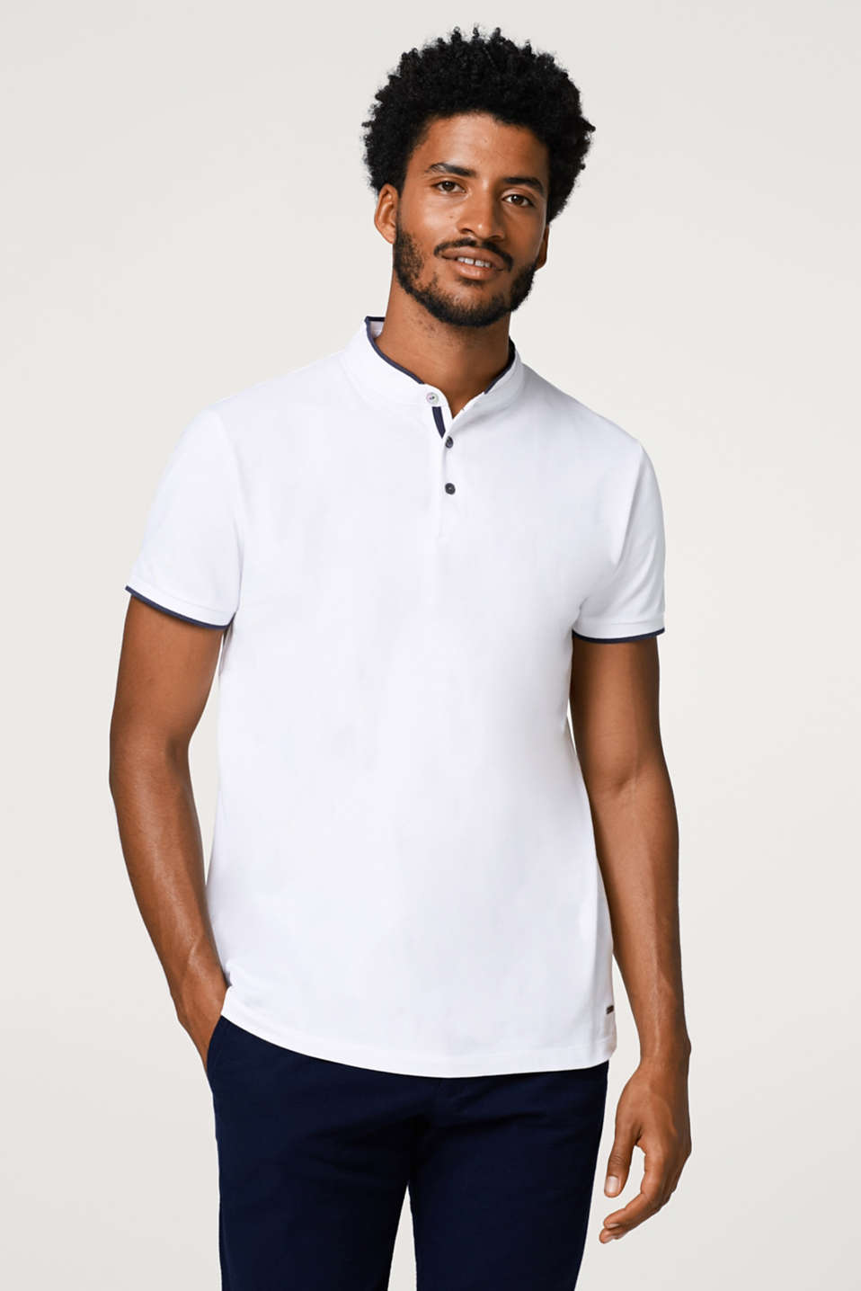 Esprit - Straight cotton polo shirt with a stand-up collar