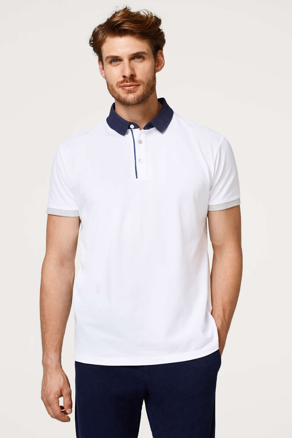 Esprit - Piqué polo shirt with a contrasting colour collar