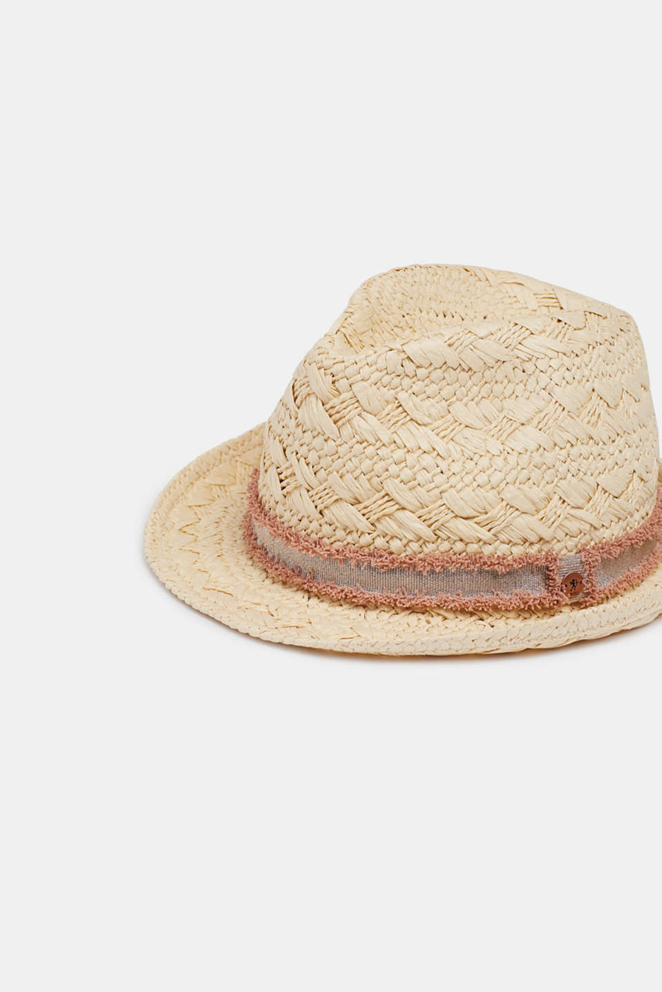 Trilby with a metallic hat band, in straw, CREAM BEIGE, detail image number 1