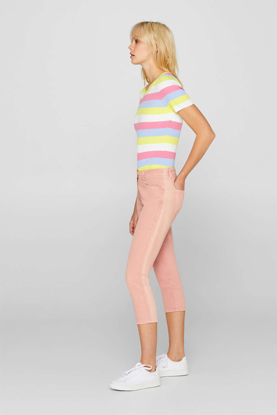 edc - Stretch capri trousers with a fashionable waist