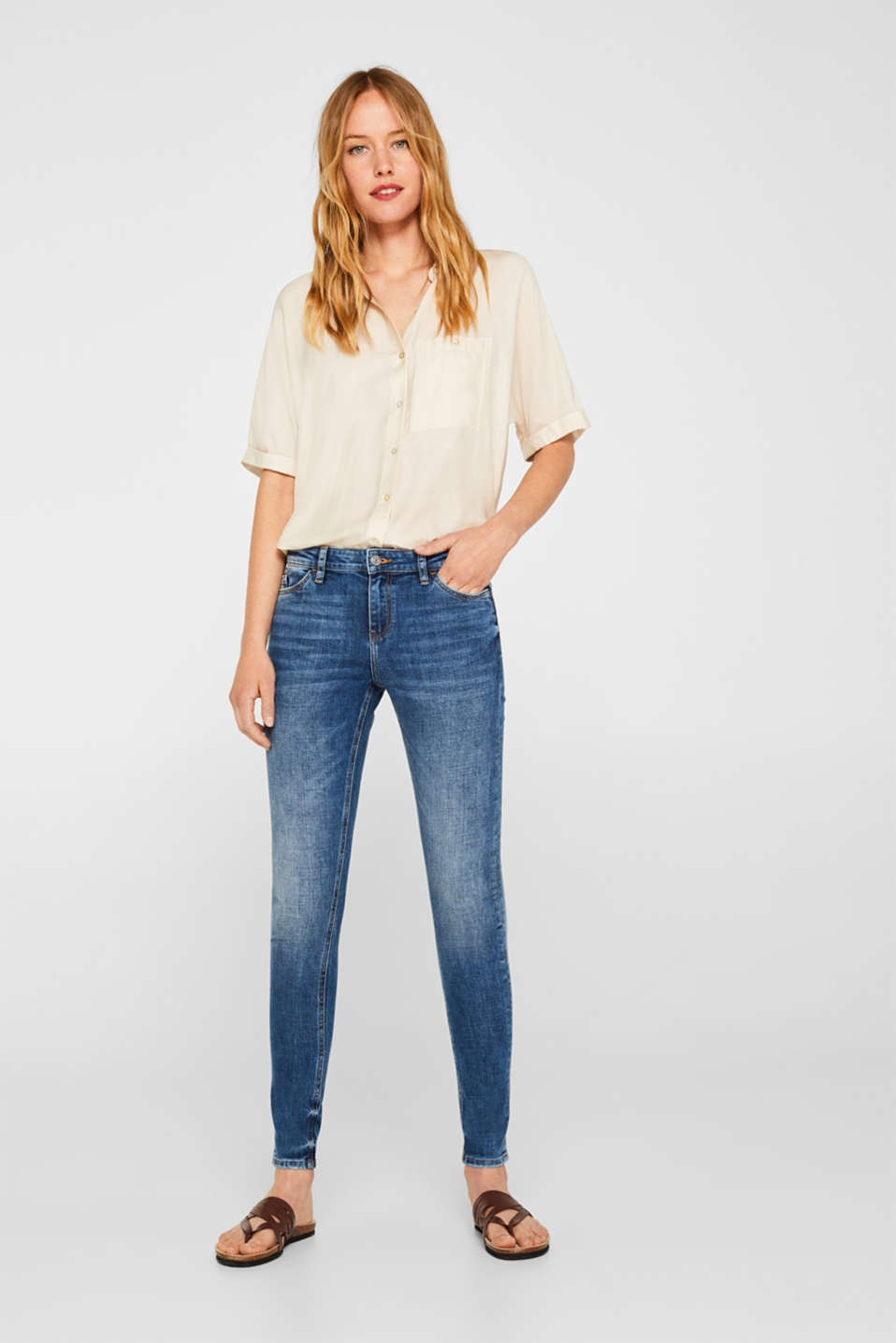edc - Stretch-Jeans mit Stickerei und Organic Cotton