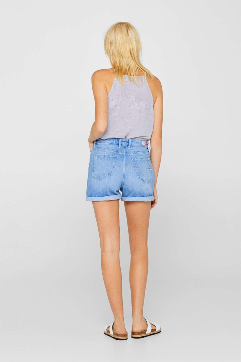 Stretch denim shorts with zigzag stitching, BLUE LIGHT WASH, detail image number 3