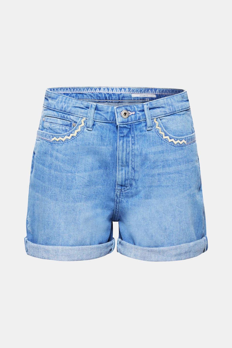 Stretch denim shorts with zigzag stitching, BLUE LIGHT WASH, detail image number 7