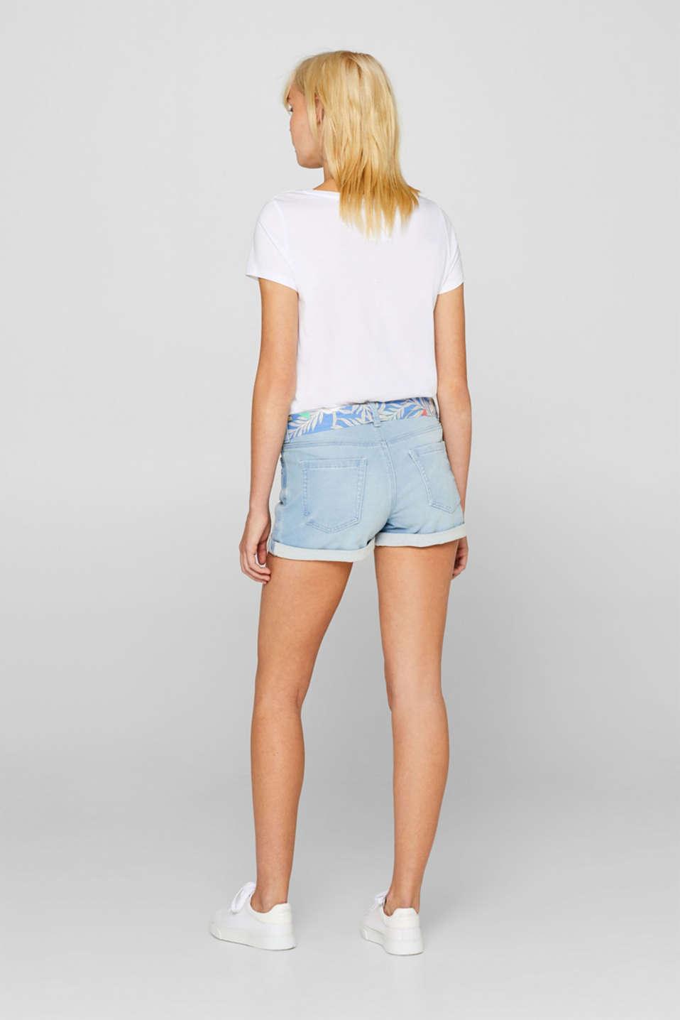Denim shorts made of tracksuit denim with a belt, BLUE LIGHT WASH, detail image number 3