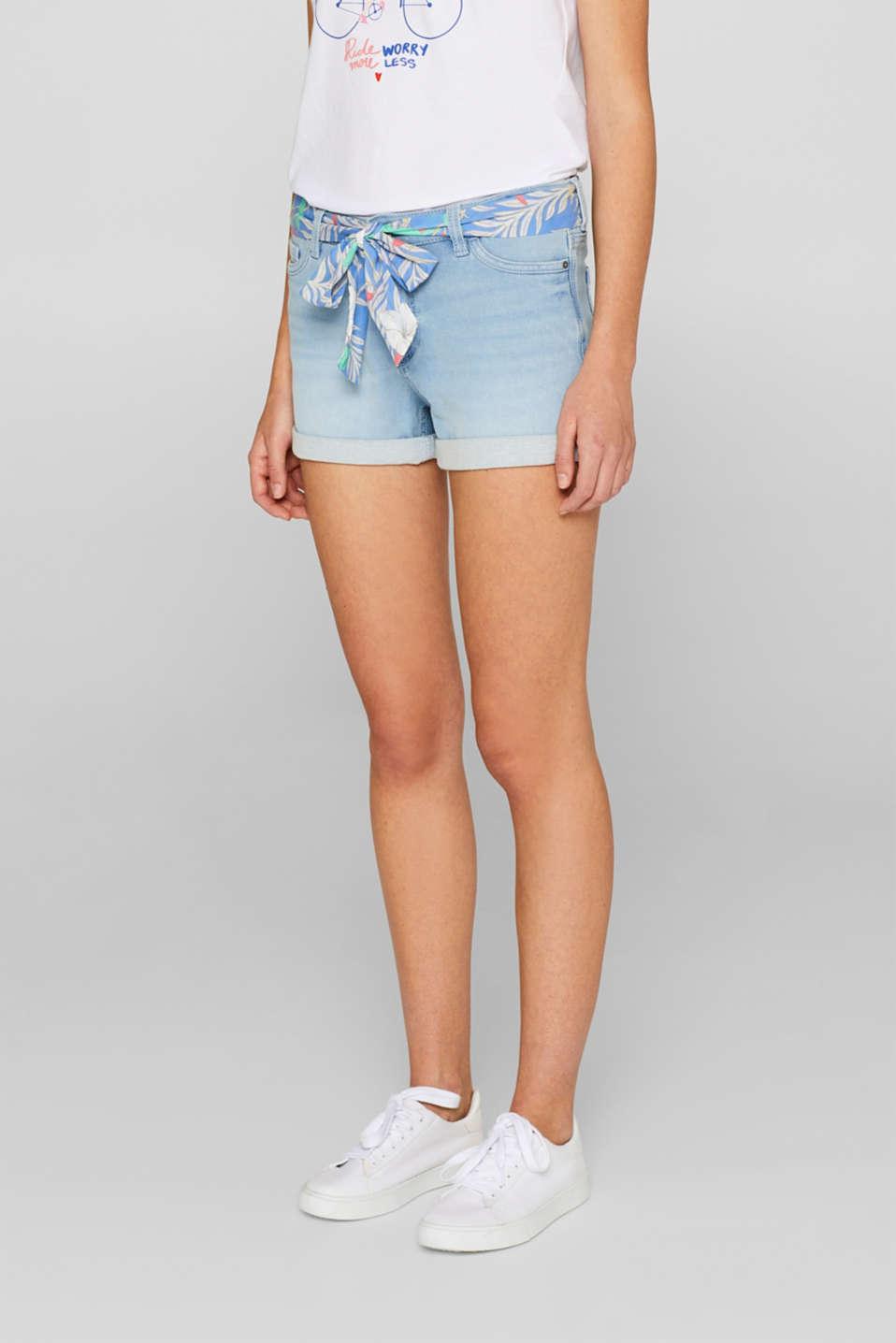 Denim shorts made of tracksuit denim with a belt, BLUE LIGHT WASH, detail image number 6