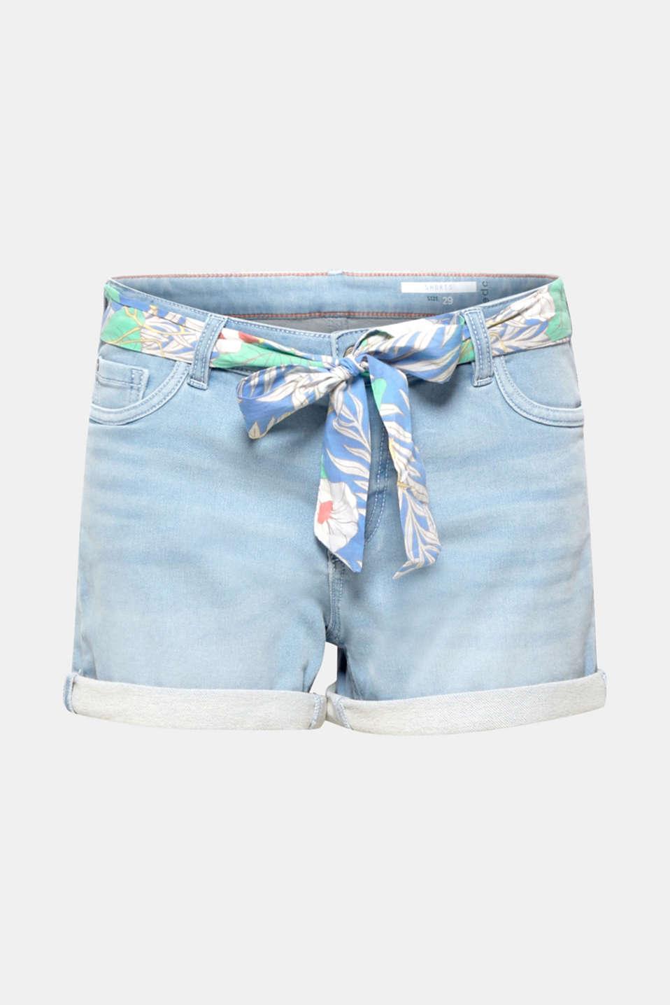 Denim shorts made of tracksuit denim with a belt, BLUE LIGHT WASH, detail image number 8