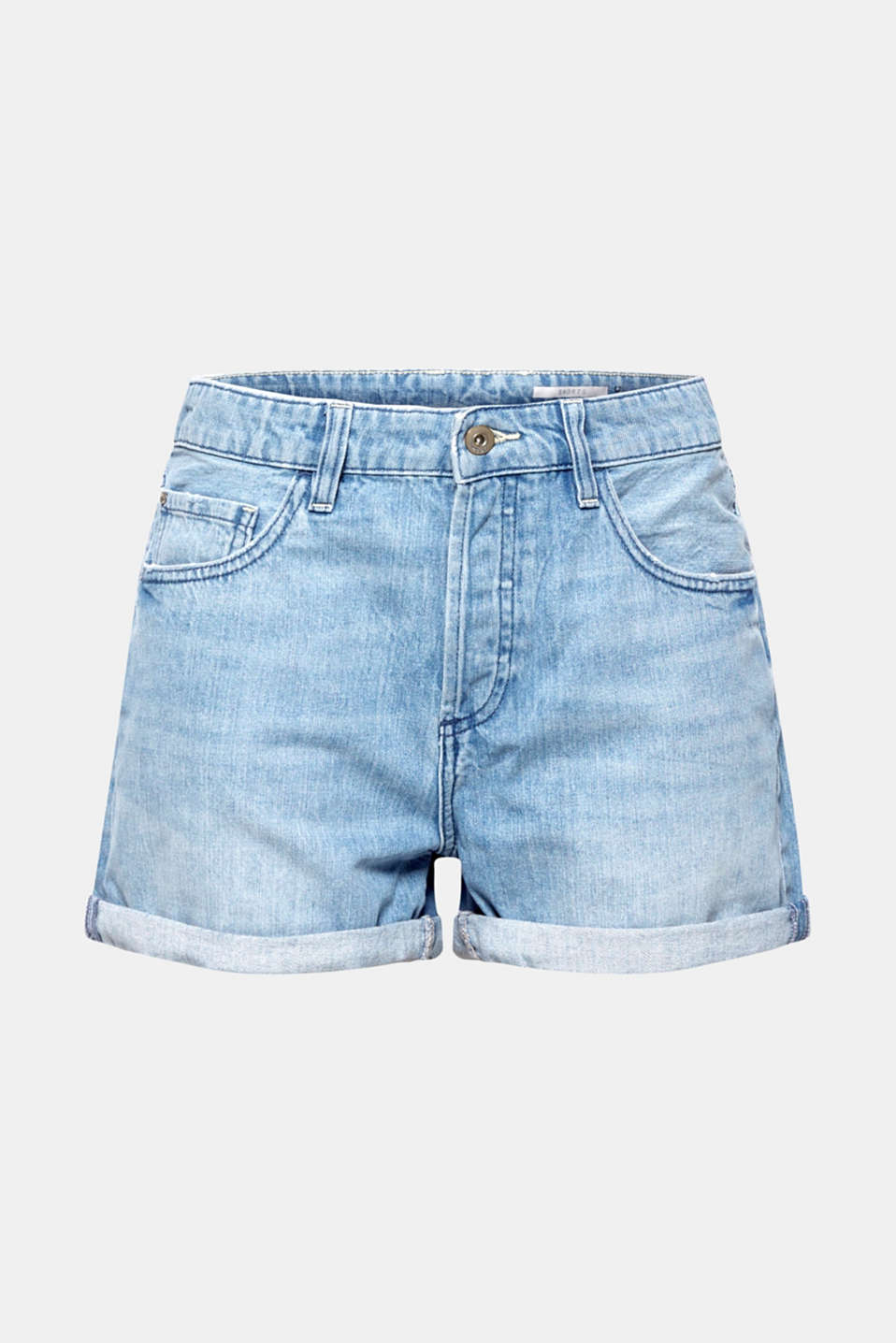 Denim shorts with button placket, 100% cotton, BLUE LIGHT WASH, detail image number 8