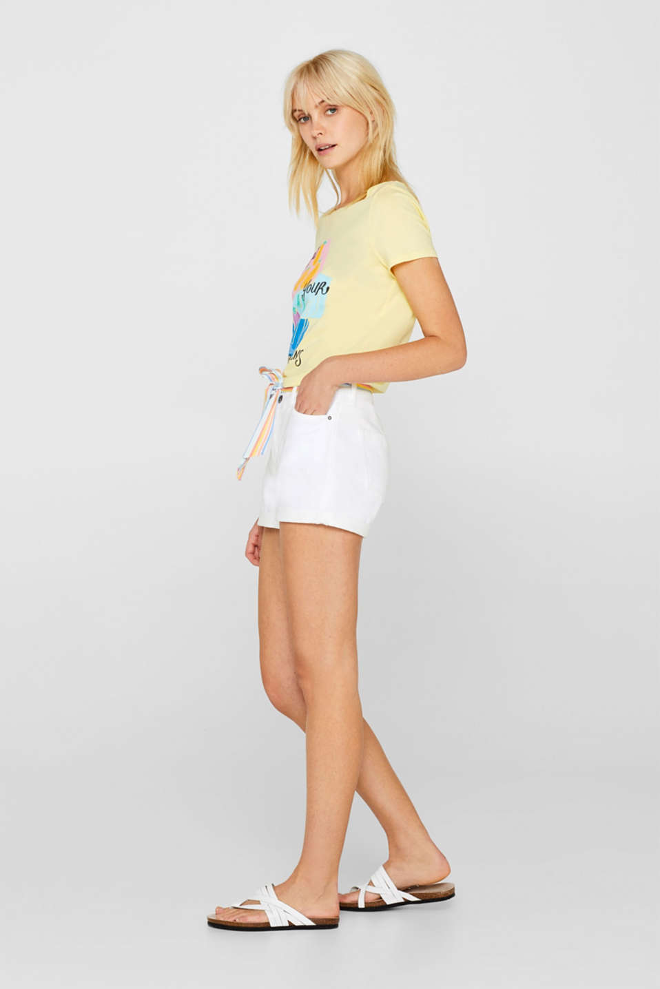 Super stretch denim shorts made of tracksuit fabric, WHITE, detail