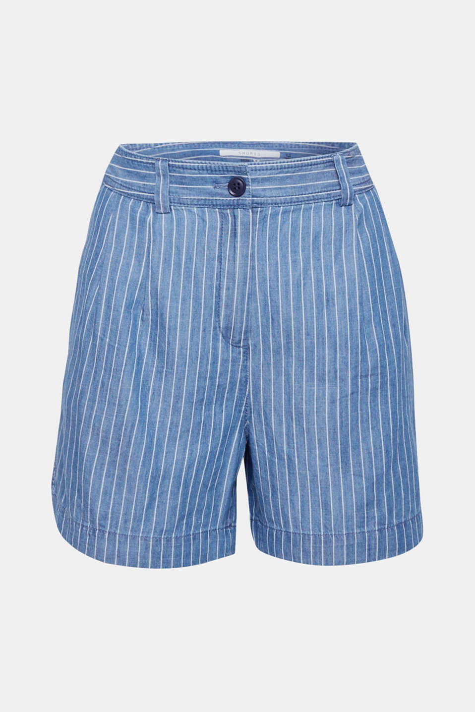Striped, denim-effect shorts made of blended lyocell, GREY BLUE, detail image number 7
