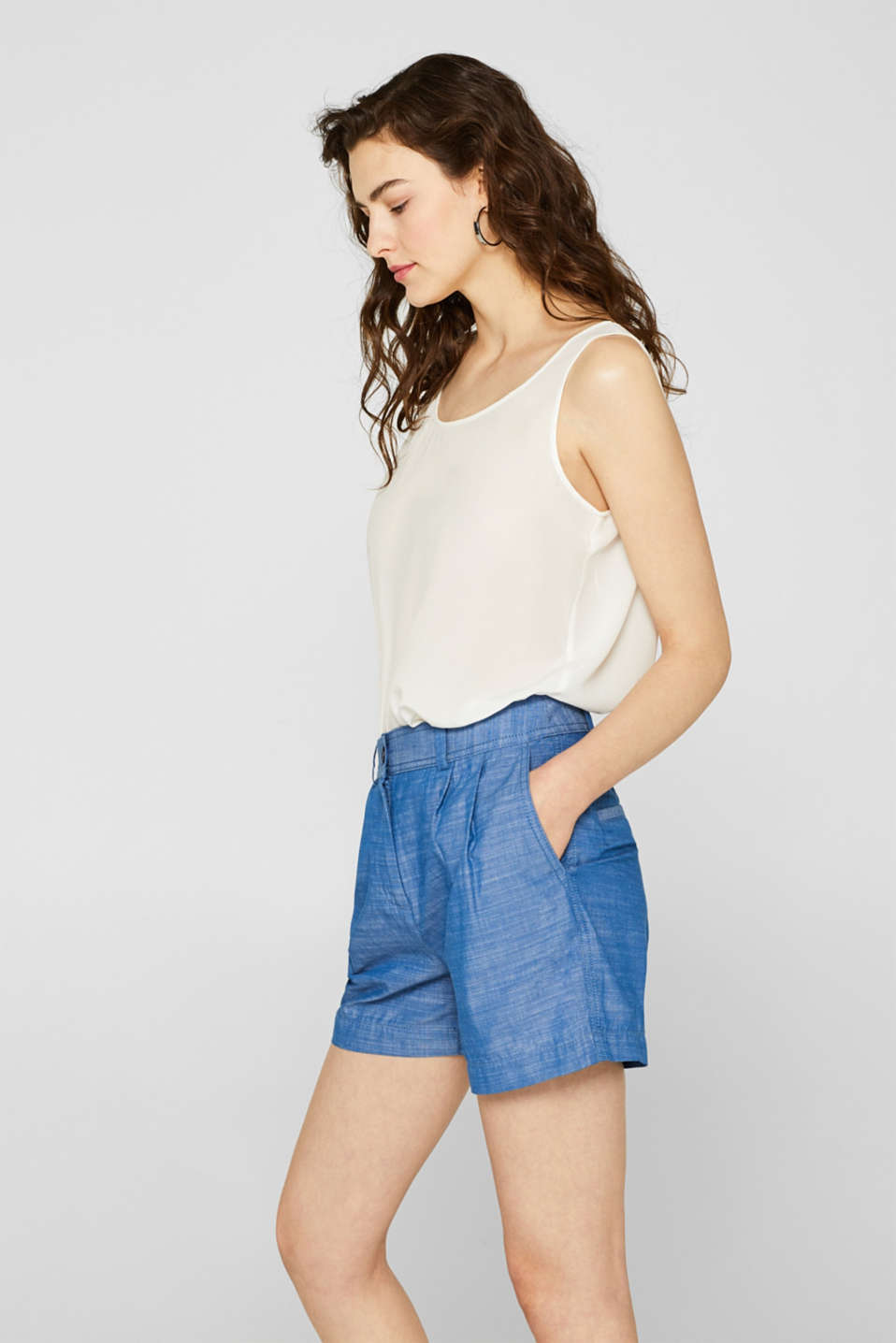 Textured shorts with waist pleats, 100% cotton, GREY BLUE 2, detail image number 0