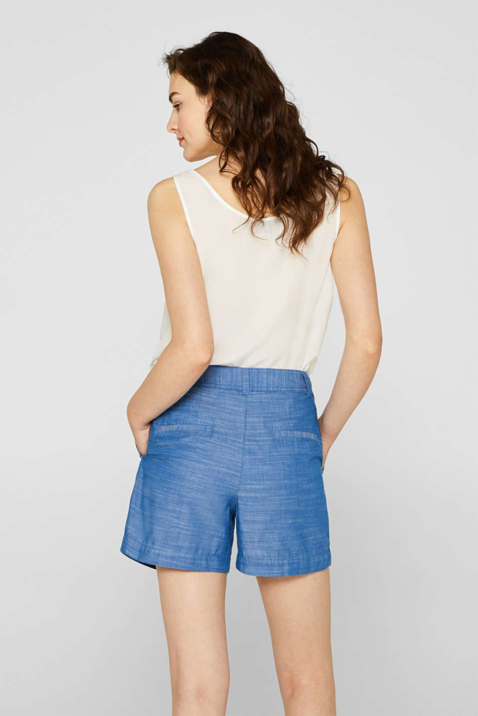 Textured shorts with waist pleats, 100% cotton, GREY BLUE 2, detail image number 3