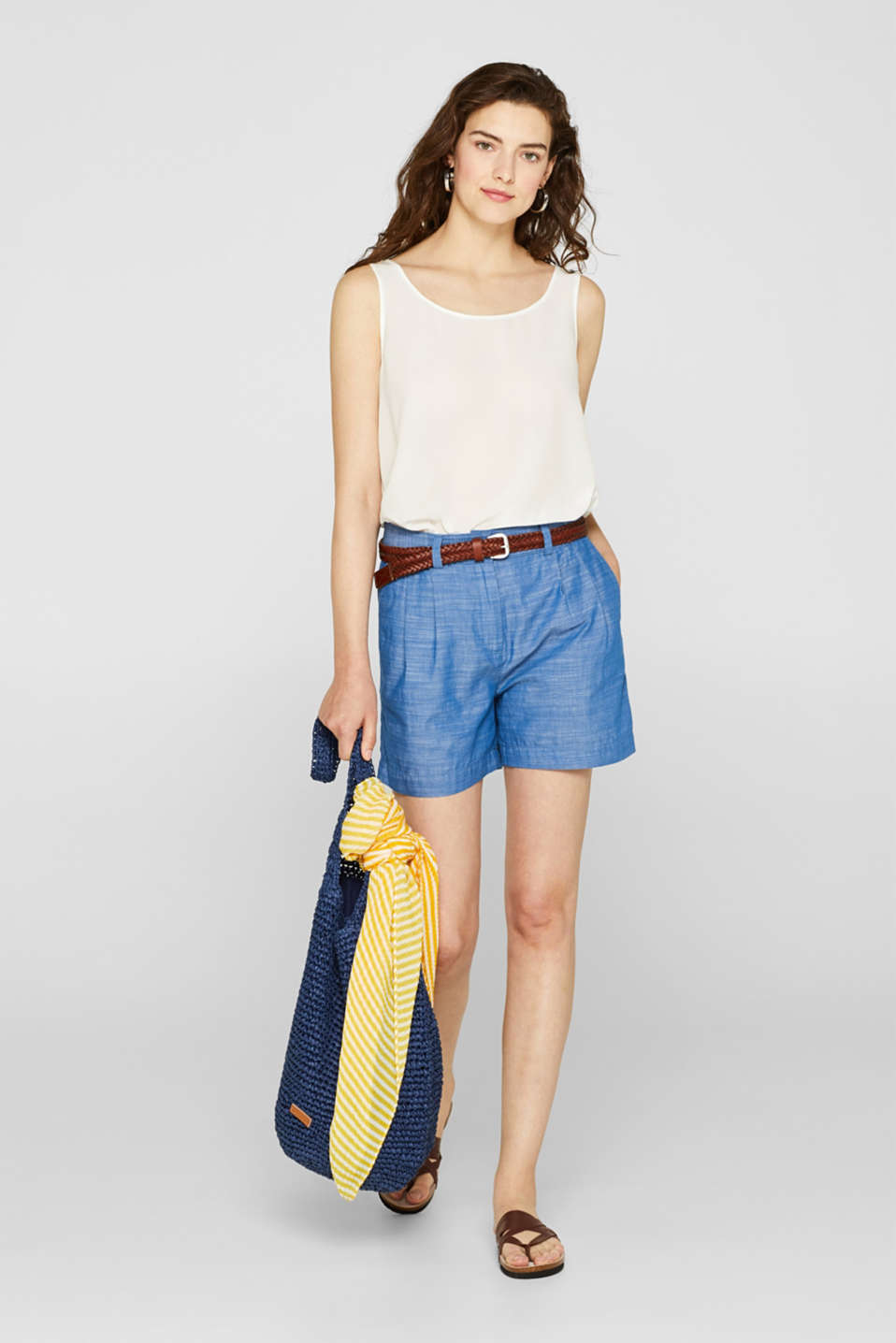 Textured shorts with waist pleats, 100% cotton, GREY BLUE 2, detail image number 1