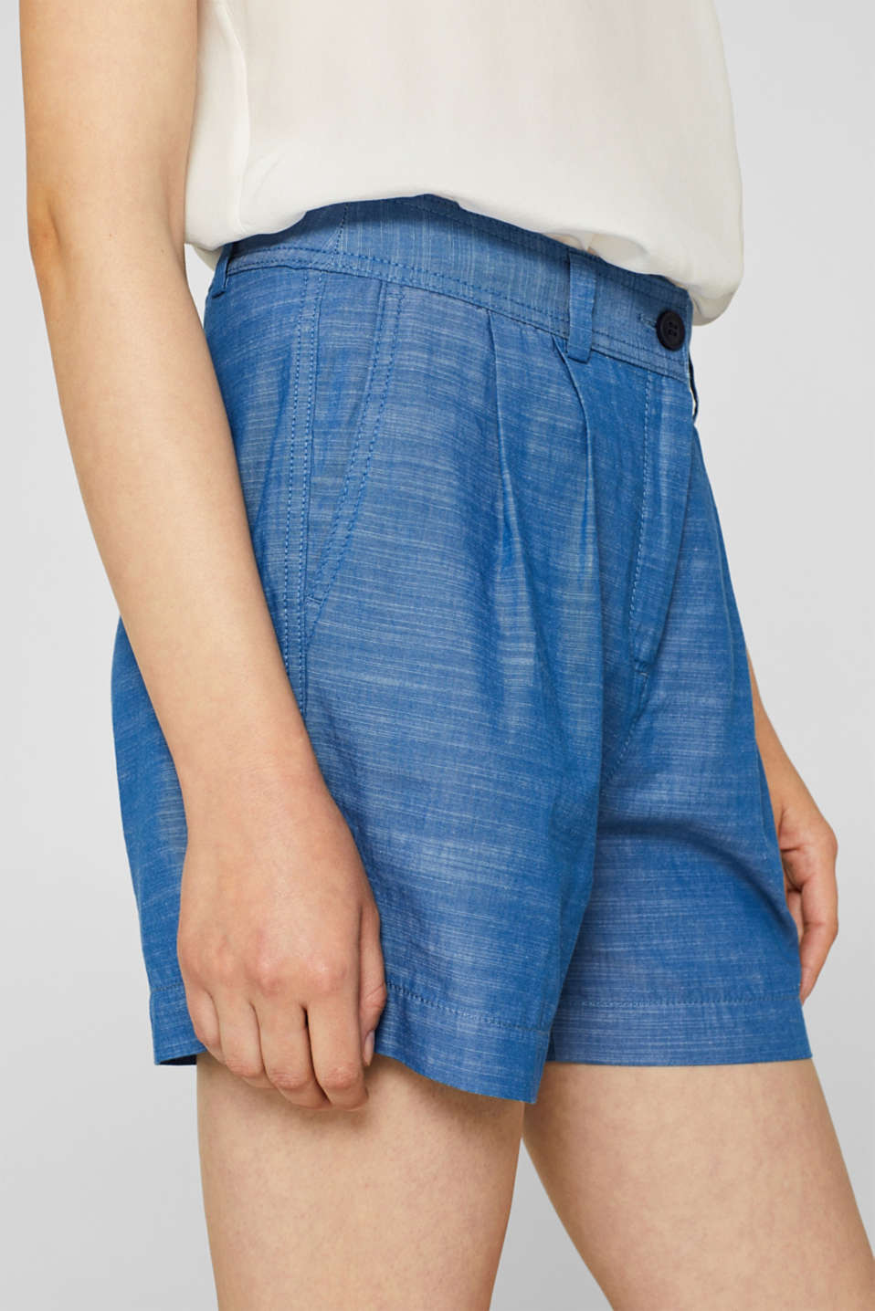 Textured shorts with waist pleats, 100% cotton, GREY BLUE 2, detail image number 2