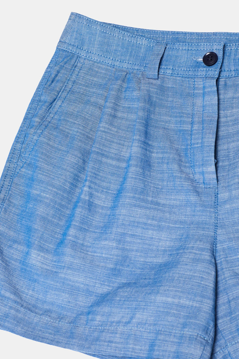 Textured shorts with waist pleats, 100% cotton, GREY BLUE 2, detail image number 4