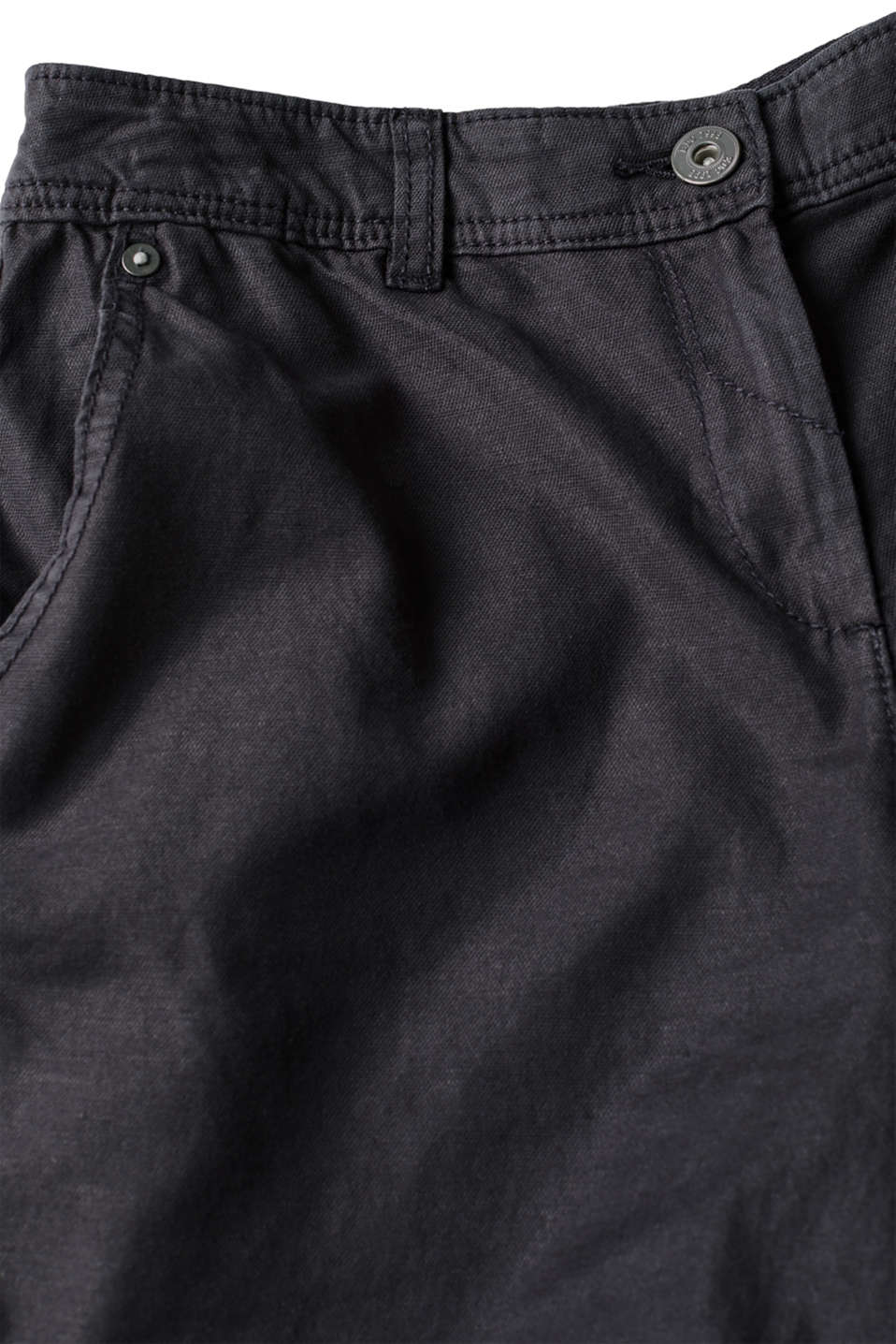 Linen blend: Garment-washed shorts, BLACK, detail image number 4