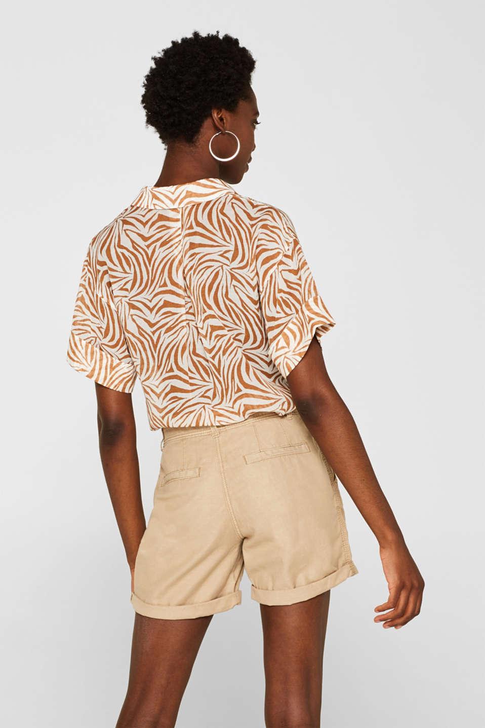 Linen blend: Garment-washed shorts, SKIN BEIGE, detail image number 3