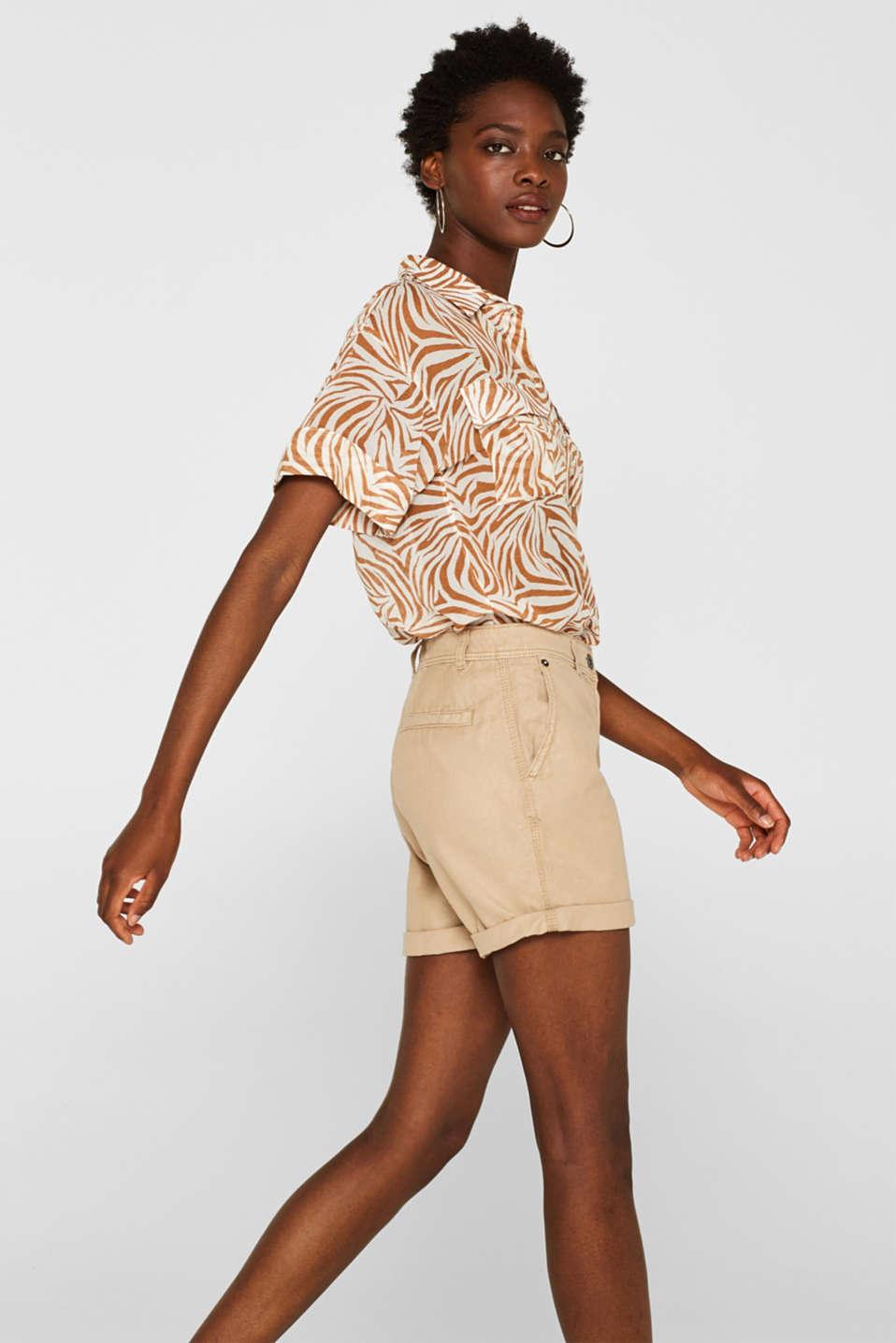 Linen blend: Garment-washed shorts, SKIN BEIGE, detail image number 5