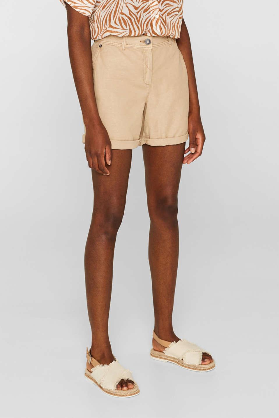Linen blend: Garment-washed shorts, SKIN BEIGE, detail image number 7