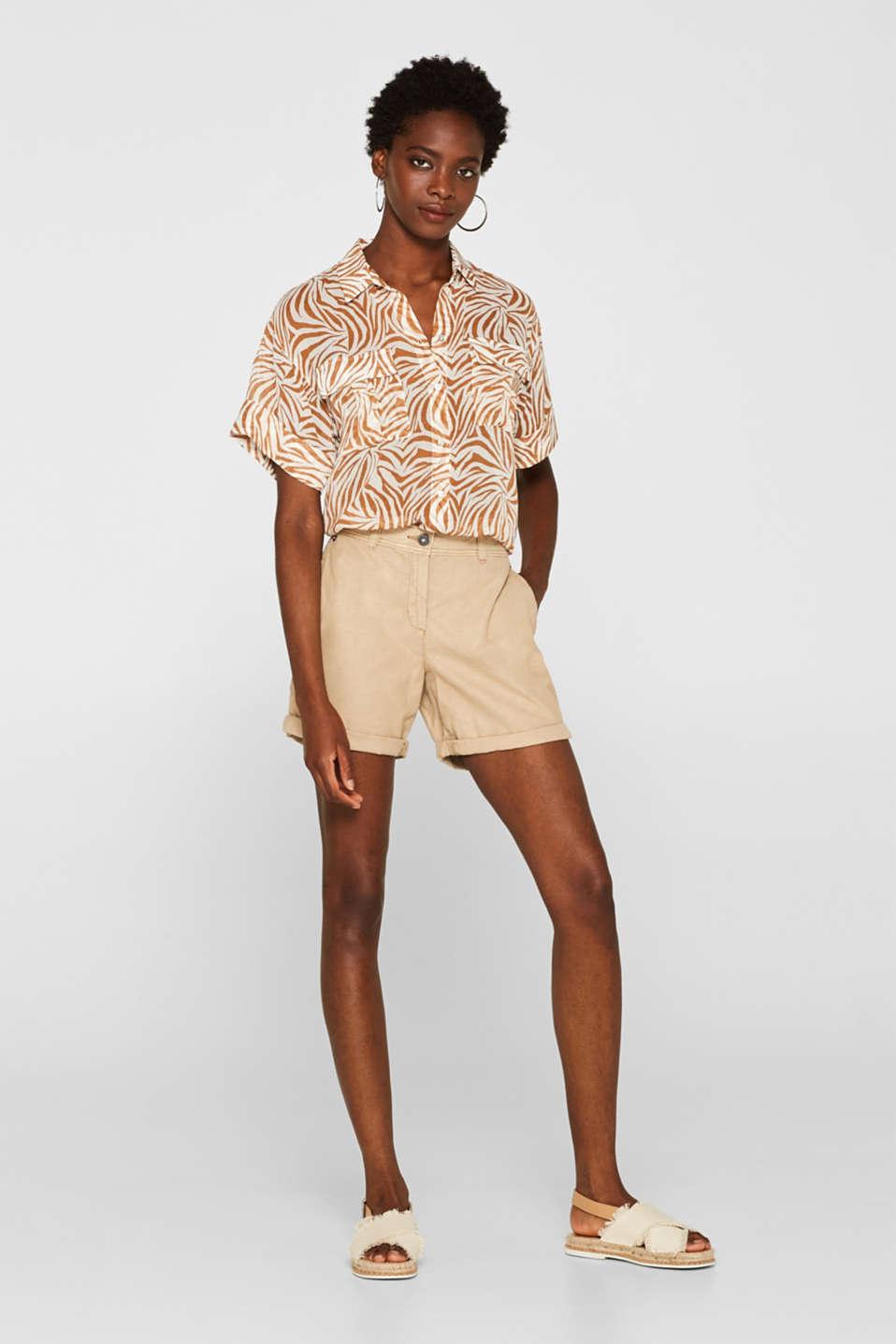 Linen blend: Garment-washed shorts, SKIN BEIGE, detail image number 1