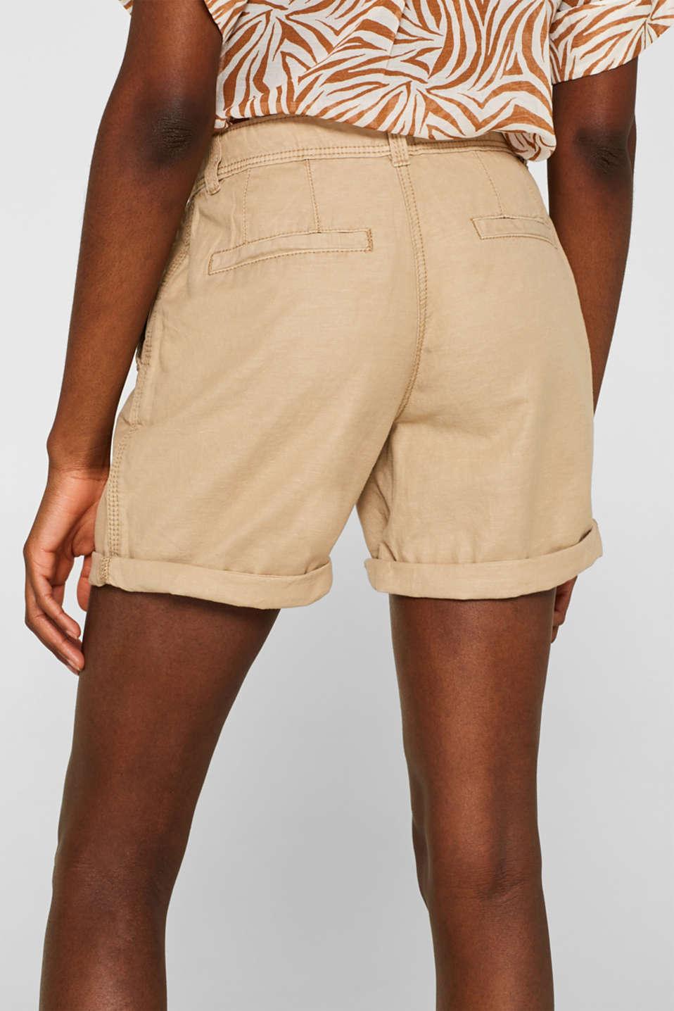 Linen blend: Garment-washed shorts, SKIN BEIGE, detail image number 6