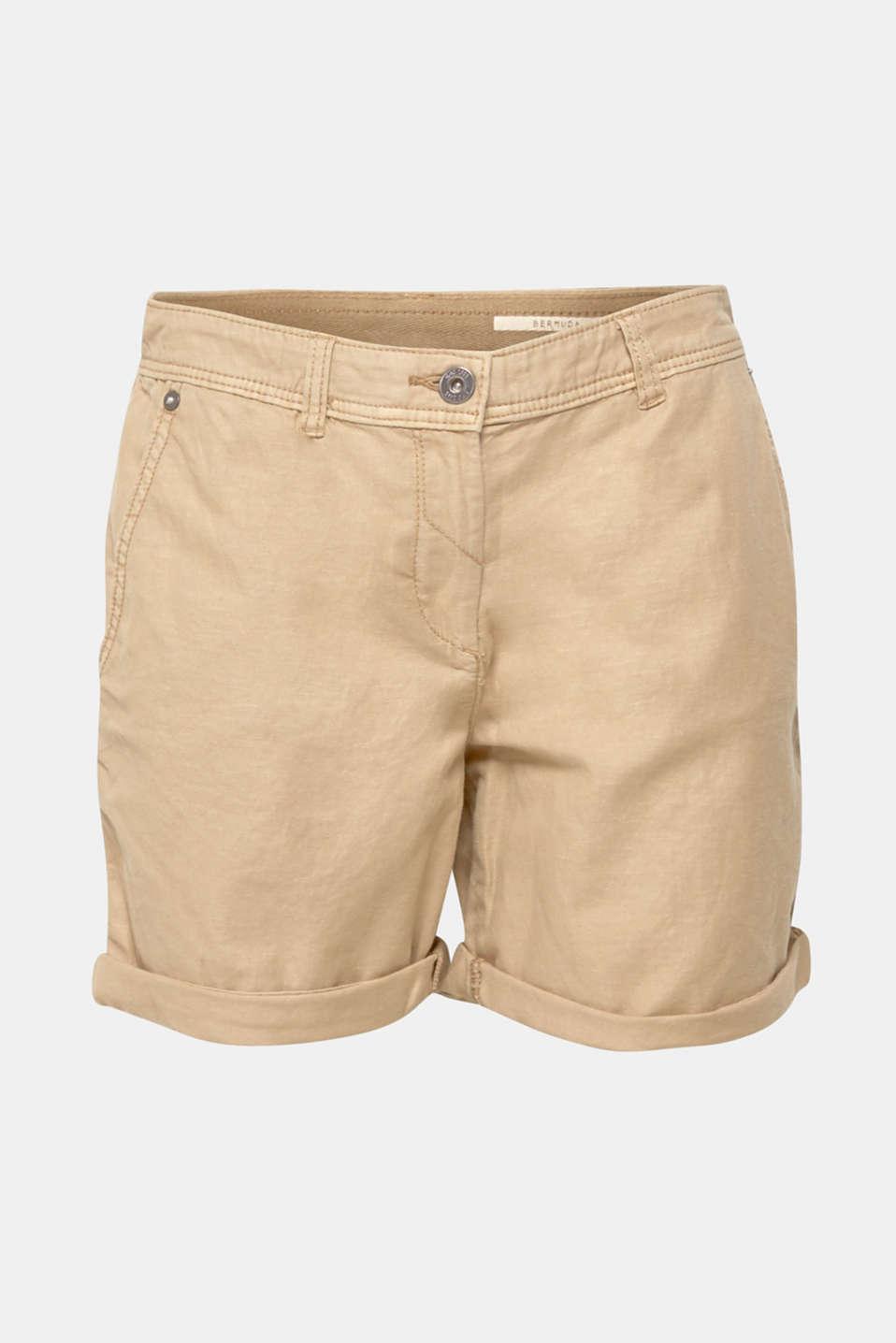 Linen blend: Garment-washed shorts, SKIN BEIGE, detail image number 8