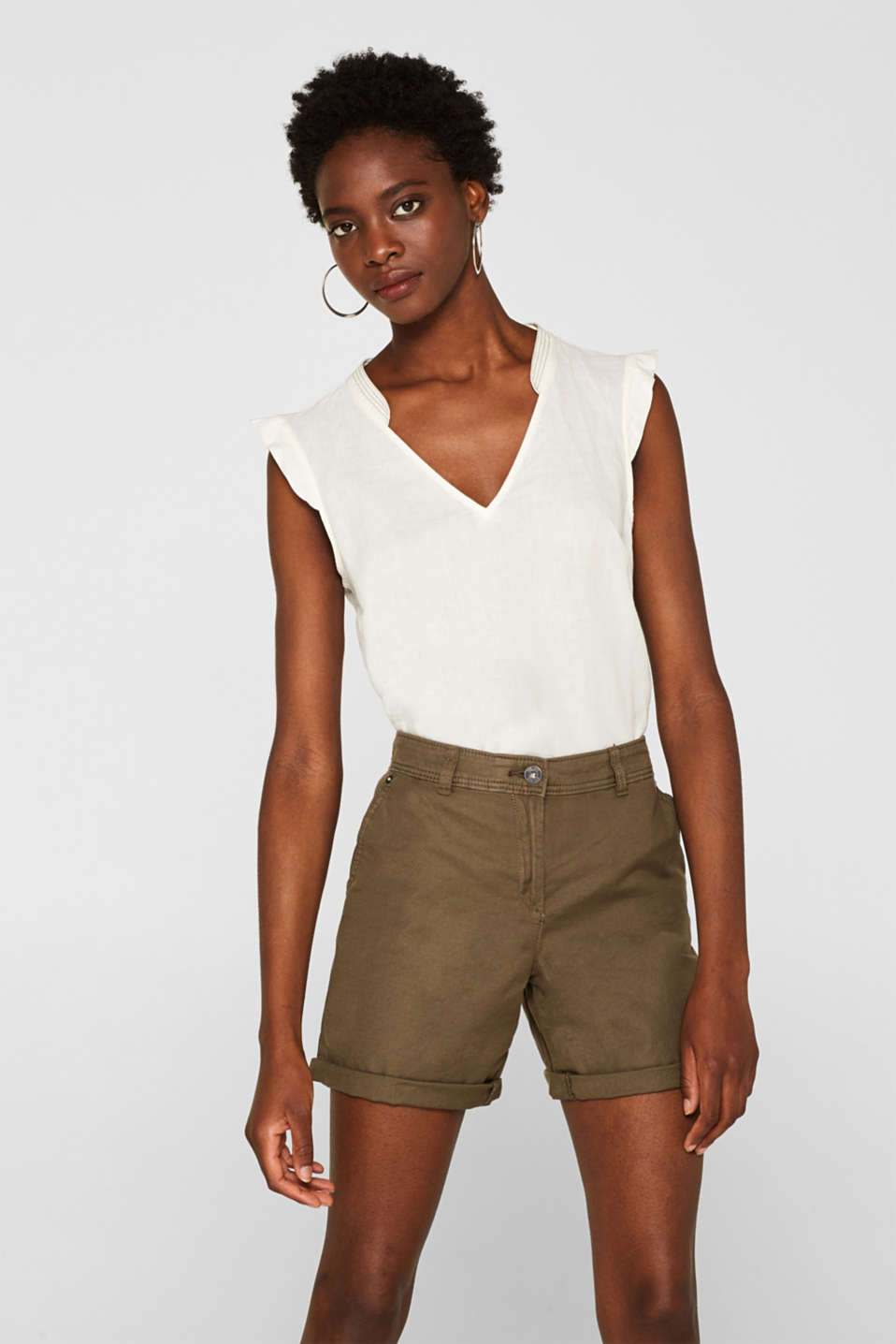 Linen blend: Garment-washed shorts, OLIVE, detail image number 0