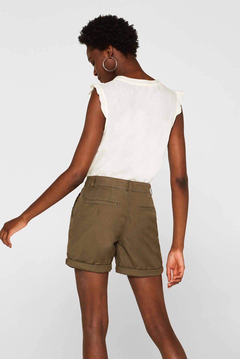Linen blend: Garment-washed shorts, OLIVE, detail image number 3