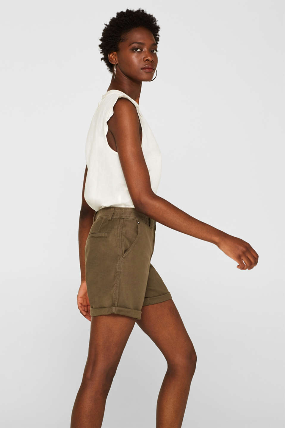 Linen blend: Garment-washed shorts, OLIVE, detail image number 5