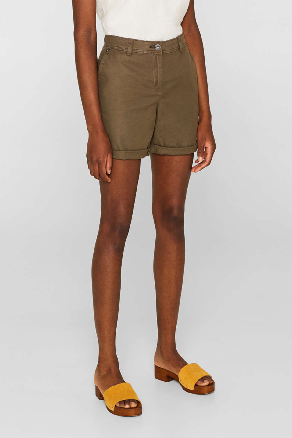 Linen blend: Garment-washed shorts, OLIVE, detail image number 7