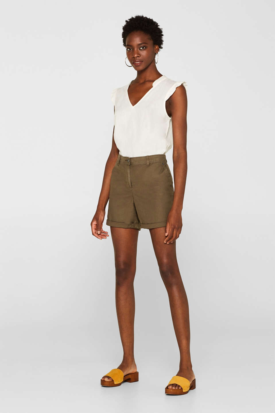Linen blend: Garment-washed shorts, OLIVE, detail image number 1