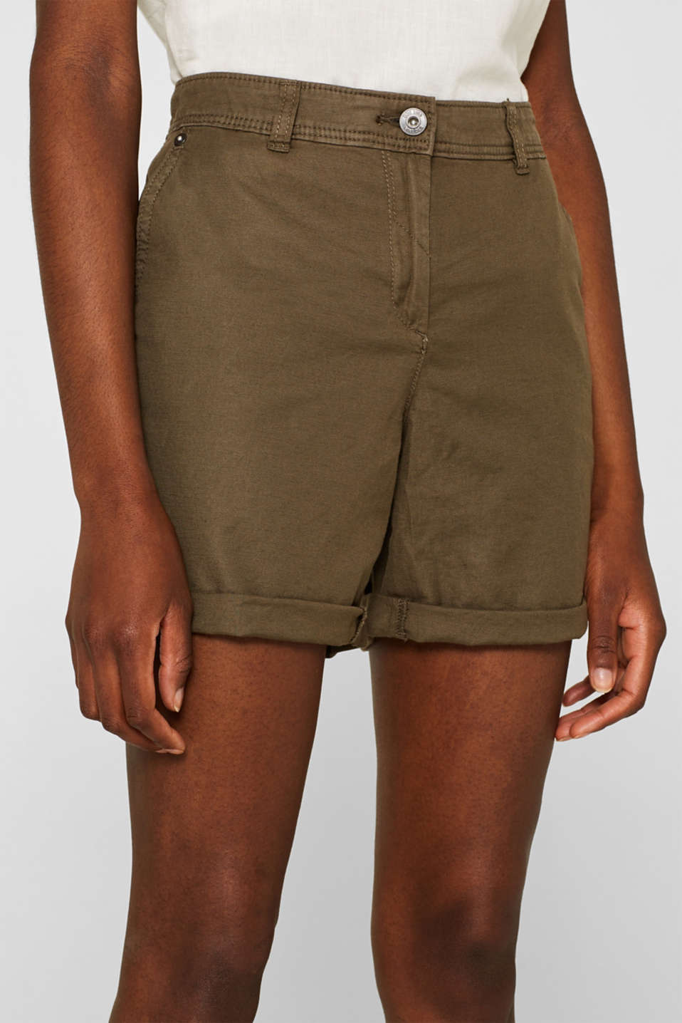 Linen blend: Garment-washed shorts, OLIVE, detail image number 2